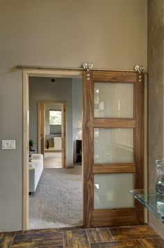 Golden Eagle Interior Barn Door (Square Top Rail, 3-Lite, Select Walnut, Clear Coat, Finish)