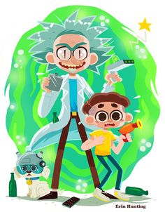 This week's Fanart Friday is Rick and Morty! #illustration. Art by https://twitter.com/ErinHunting