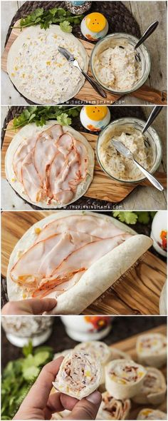 Making these Turkey Ranch Roll Ups is so simple, just mix up the cheese, ranch, and veggies, spread it on the tortilla, layer with shaved turkey and roll it up! Perfect appetizer. Seriously!