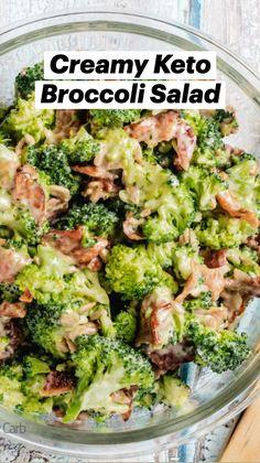 Keto Veggie Recipes, Healthy Low Carb Recipes, Diet Recipes, Easy Salad Recipes, Healthy Broccoli Recipes, Low Carb Food, Low Carb Broccoli Salad, Dairy Free Keto Recipes, Low Carb Chicken Salad