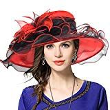 Kentucky Derby Hat Wide Brim Flounce Cocktail Tea Party Bridal Dress Church Hat (Red Medium)