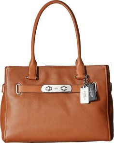 COACH Women's Color Block Polished Pebble Leather New Swagger SV/Saddle Satchel