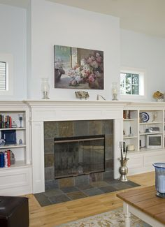 Love the crown moulding and color of these bookshelves. From Houzz Built In Bookshelves Design, Pictures, Remodel, Decor and Ideas - page 30