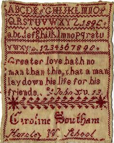 Caroline Southam 1890, student at Horsley Woodhouse School in Derbyshire, UK, stitched when she was 10 years old.