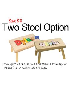Personalized small wooden puzzle stool pastel colors pastel colors for dylan personalized puzzle stool by timsuniqueproducts on etsy negle Choice Image