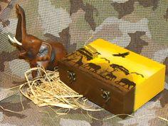 Safari / naplemente / elefántos doboz egy ovisballagótól az óvónéninek