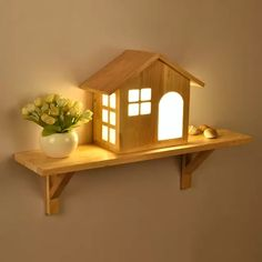 Nordic Creative House LED Solid Wood Wall Lamp Small Home Shelf Indoor Mounted Light for Bedside Bedroom Aisle Lights Children's. Cheap Home Decor, Diy Home Decor, Room Decor, Wood Wall Shelf, Wooden Shelves, Wooden Lamp, Diy Casa, Diy Holz, Home Decor Accessories