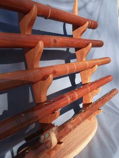 Solid Cherry and Red Oak Flute stand flute rack holds 5 native american flutes