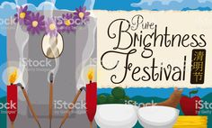 Grave with Traditional Offerings to Celebrate Chinese Pure Brightness Festival Free Vector Art, Image Now, Chinese, Bright, Pure Products, Traditional, Celebrities, Illustration, Celebs