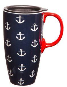 Cypress Home 17 oz. Anchors Ceramic Latte Travel Mug with Gift Box Travel Cup, Coffee Travel, Ceramic Travel Coffee Mugs, Latte, Smoothie Cleanse, Nautical Fashion, Beach Fashion, Am Meer, Coffee Cups
