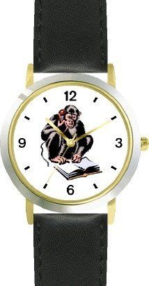Chimpanzee on Telephone Reading Great Ape Animal - WATCHBUDDY® DELUXE TWO-TONE THEME WATCH - Arabic Numbers - Black Leather Strap-Children's Size-Small ( Boy's Size & Girl's Size ) WatchBuddy. $49.95. Save 38% Off!