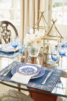 Classic Blue & White for Spring White Table Top, British Colonial Style, Table Settings, Blue And White, Cottage, Entertaining, Table Decorations, Spring, Tabletop