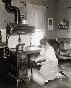 kitchen in 1910 | Woman Baking Bread In 1910 Kitchen - BE040996 - Rights Managed - Stock ...