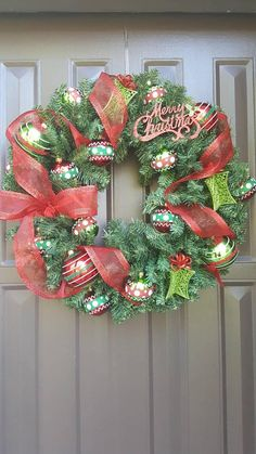 This wreath is amazing! So festive! Check out this item in my Etsy shop https://www.etsy.com/listing/552396996/merry-christmas-red-and-green-wreath