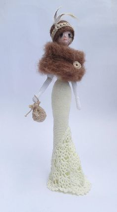 Amigurumi Crocheted doll Art doll Lady in mantle gift idea