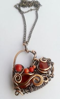 Copper pendant, Copper wire heart, Wire Wrapped Copper Pendant With Red Natural…
