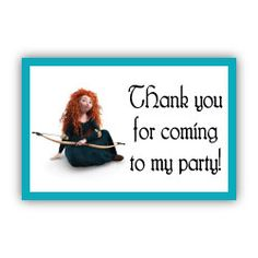 Merida Brave - thankyou for coming to my party Tag