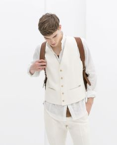 Image 1 of LINEN SUIT WAISTCOAT WITH WHITE CONTRAST from Zara