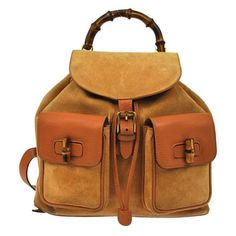 Gucci Bamboo Hand Suede Leather Vintage Italy Backpack. Get one of the hottest styles of the season! The Gucci Bamboo Hand Suede Leather Vintage Italy Backpack is a top 10 member favorite on Tradesy. Save on yours before they're sold out!