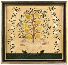 John Clement married Hanna Pierce March 1805. Their eight children represented within the fruitful tree.