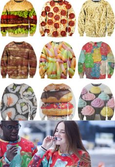 sweater sexy sweaters food fast food junk food clothes t-shirt we heart it sushi shirt sushi shirt jacket Crazy Outfits, Cool Outfits, Cute Shirts, Funny Shirts, Cupcake Shirt, Donut Shirt, Beloved Shirts, Good Enough To Eat, Sweater Weather