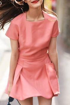 Refreshing Square Neck Short Sleeve Pocket Design Pink Dress For Women