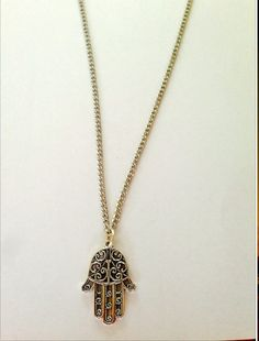 Hamsa Hand Long Necklace via Rosie's Designs. Click on the image to see more!