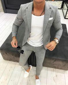 Men's Grey Vertical Striped Blazer, White Crew-neck T-shirt, Grey Vertical Striped Dress Pants, White Leather Tassel Loafers Blazer Outfits Men, Mens Fashion Blazer, Suit Fashion, Fashion Menswear, Fashion Hair, Fashion Rings, Men Blazer, Fashion Moda, Style Fashion