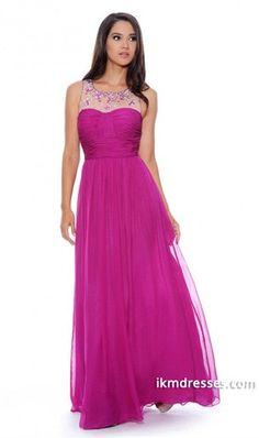 015 Scoop Neckline Pleated Bodice Princess Chiffon Prom Dress Floor Length Beaded http://www.ikmdresses.com/2014-Scoop-Neckline-Pleated-Bodice-Princess-Chiffon-Prom-Dress-Floor-Length-Beaded-p84692