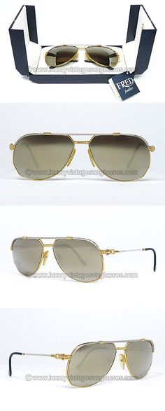 Sunglasses 48559: Vintage Fred Sunglasses 60 Mm America Cup Gold Aviator Rare Nw Old Stock Cartier -> BUY IT NOW ONLY: $999 on eBay!