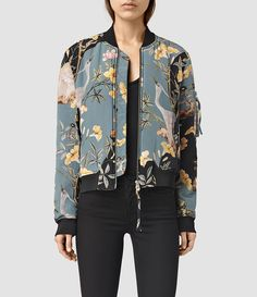 Allsaints Iva Heron Bomber In Grey Cool Bomber Jackets, Silk Bomber Jacket, Bomber Jacket Outfit, Cool Jackets, Vetement Fashion, Inspiration Mode, Jackets For Women, Clothes For Women, Casual Street Style