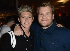 Niall and James Corden aka the Father of Stormagedon, Dark Lord of All (glad I'm not the only one who remembers)