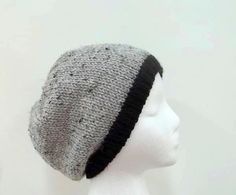 Hand Knitted beanie beret hat with black brim    by CaboDesigns