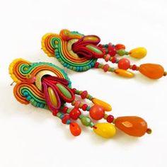 Luzon kolczyki sutasz | Etsy Soutache Earrings, Czech Glass, Ribbon, Beads, Sewing, How To Make, Etsy, Color, Tape