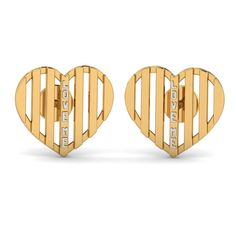 """Love Me Heart Studs 18 karat Yellow Gold and White Gold Studs Get your flirt on with these """"Love Me"""" heart studs made of 18 karat gold. The wordings are beautifully highlighted in white gold. Pair them up with simple attire for a bit of variation. Gold Rings Jewelry, Gold Jewellery Design, Simple Jewelry, Heart Jewelry, Buy Earrings, Heart Earrings, Urban Jewelry, White Gold Studs, Baby Tops"""