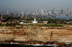 Sydney Skyline over Macquarie Lighthouse, South Head