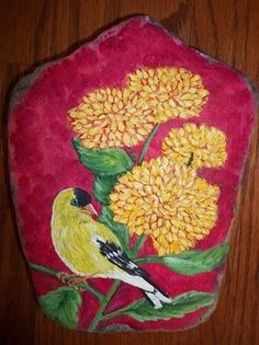 hand painted rock - Goldfinch - direct from KY artist (02/19/2012)