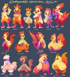 "musicalcombusken: ""SO, I DECIDED TO MAKE VARIATIONS OF COMBUSKEN! I took 4 days on this, but it was fun to create the shapes and colors. *u* I love chickens and Combusken (torchic line in general), so I felt the need to do this~I used my Pokesona MC..."