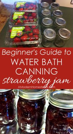 Strawberry Jam Water bath canning step by step guide. I can't wait to try, plus I LOVE strawberry jam!Water bath canning step by step guide. I can't wait to try, plus I LOVE strawberry jam! Canning Tips, Home Canning, Canning Recipes, Easy Canning, Hot Water Bath Canning, Bath Water, Antipasto, Sangria, Chutney