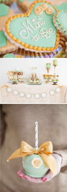 Mint and gold themed dessert table, cookies, cakes and cupcakes.