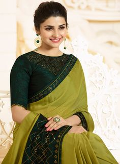 Light Green and Green Embroidered Silk Georgette Saree – Lashkaraa Trendy Sarees, Stylish Sarees, Fancy Sarees, Saree Blouse Neck Designs, Saree Blouse Patterns, Blouse Designs Catalogue, Stylish Blouse Design, Saree Look, Elegant Saree