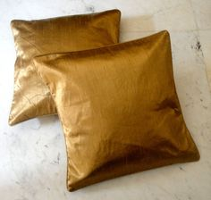 2 Modern Luxury Shiny Metallic Golden Color Viscose Throw Pillow Cushion Covers #Handmade