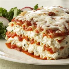 Ricotta Cheese Lasagna - This is the only lasagna recipe I will ever use! It is the most delicious lasagna I've ever tasted! The only thing I did differently was use Preggo Flavored with Meat instead of the Traditional Italian.