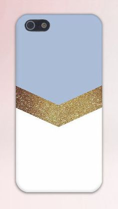 Gold Glitter x Sky Blue Chevron Design Case for iPhone 6 6 Plus iPhone 5 5s 5c 4 4s Samsung Galaxy s6 s5 s4 & s3 and Note 5 4 3 2