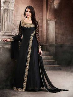 Black+Color+Letest+Design+Georgette+Long+Anarkali+Dress