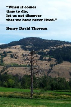 """When it comes time to die, let us not discover that we have never lived."" – Henry David Thoreau – On British Columbia, Canada, image photographed by Florence McGinn – Explore more quotes on the grace and power of life's journey at http://www.examiner.com/article/travel-a-road-of-literate-quotes-about-the-journey"