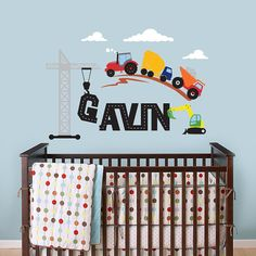 Construction Scene and Custom Name Tractor Truck by InAnInstantArt, $38.00