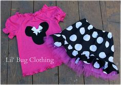 *Custom Boutique Clothing Black White Hot Pink Jumbo Dot Minnie Mouse Tulle Skirt Halter Set    *Available in sizes 12 18 24 2t 3t 4t 5t 6 7