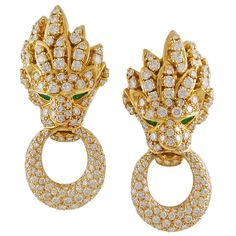 Van Cleef & Arpels Emerald Diamond Lion Head Earrings | From a unique collection of vintage clip-on earrings at https://www.1stdibs.com/jewelry/earrings/clip-on-earrings/
