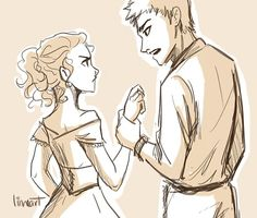 "Some awesomeeee Celaena-Chaol fan-art by Linnea! (""That scene where Celaena shows up at the ball and Chaol gets pissedddd!"") http://linneart.tumblr.com/tagged/throne-of-glass/#"